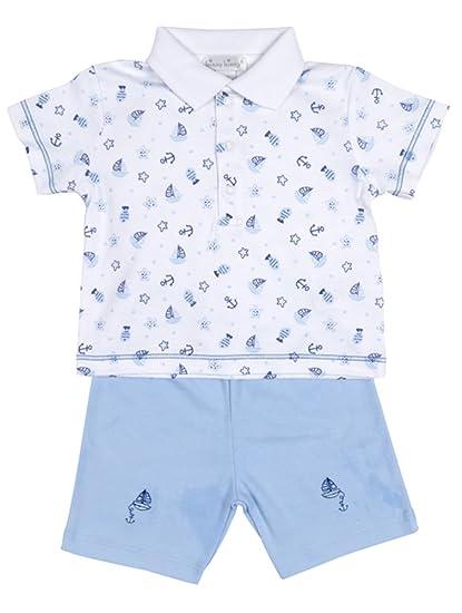 fa1f05f14727 Amazon.com: Kissy Kissy Baby-Boys Infant Yacht Club Bermuda Set With Collar-Light  Blue-6-9 Months: Clothing