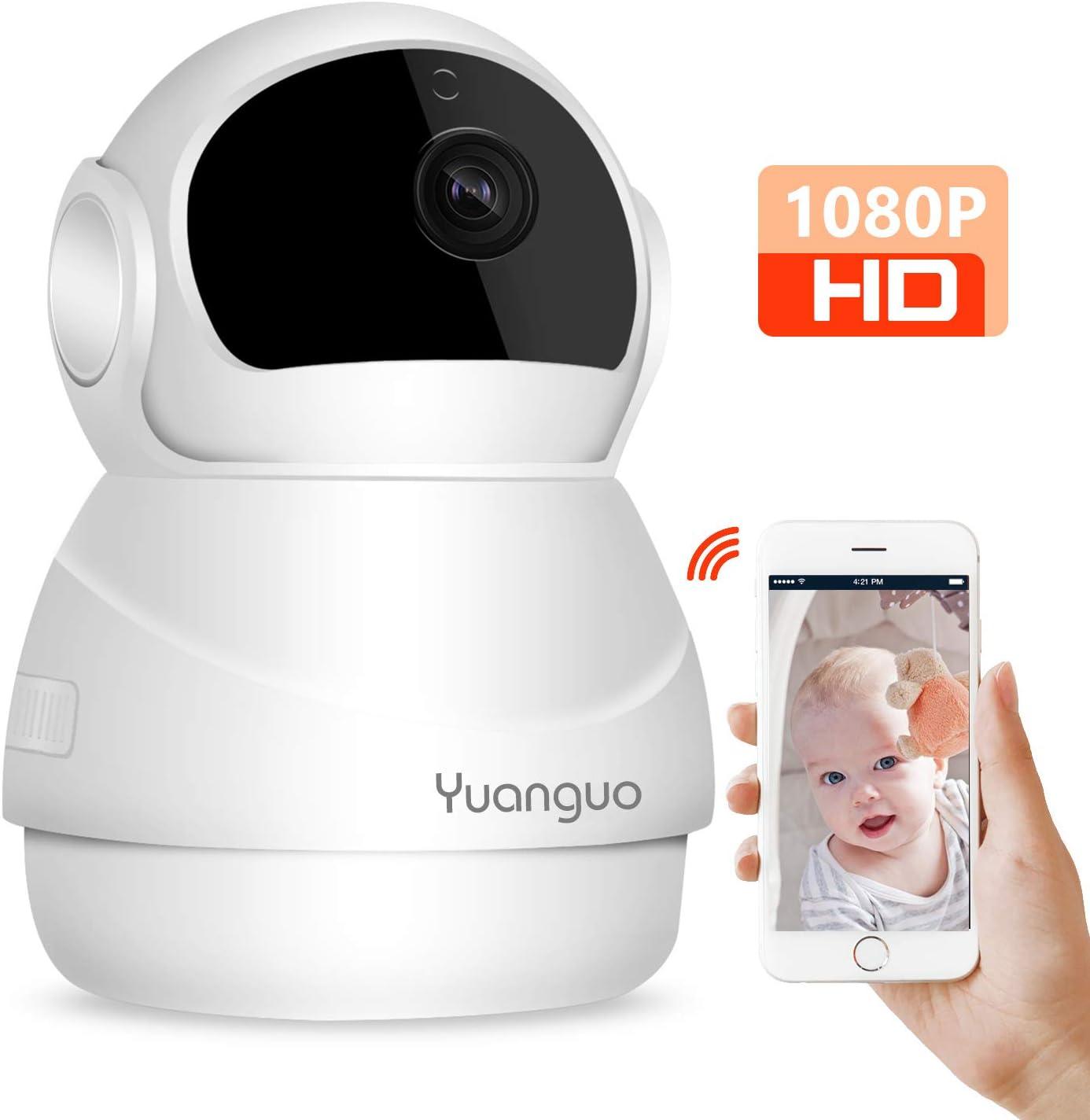 Cámara IP WiFi Yuanguo Cámara Vigilancia WiFi Interior 1080P FHD con Audio Bidireccional Visión Nocturna,Detección de Movimiento Alarma Remota y App Control Monitor de Bebé/Hogar/Mascotas