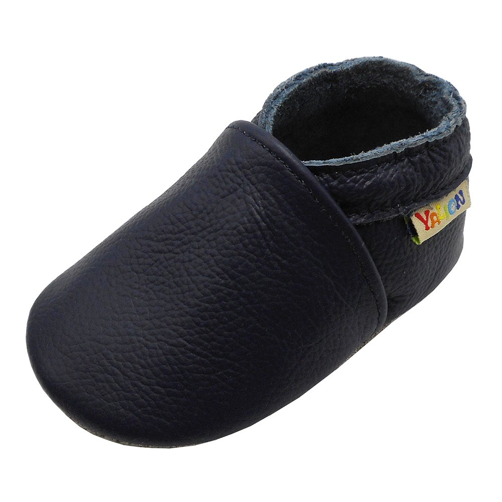 Yalion Baby Boys Girls Shoes Crawling Slipper Toddler Infant Soft Leather First Walking Moccs(Navy Blue,18-24 Months)