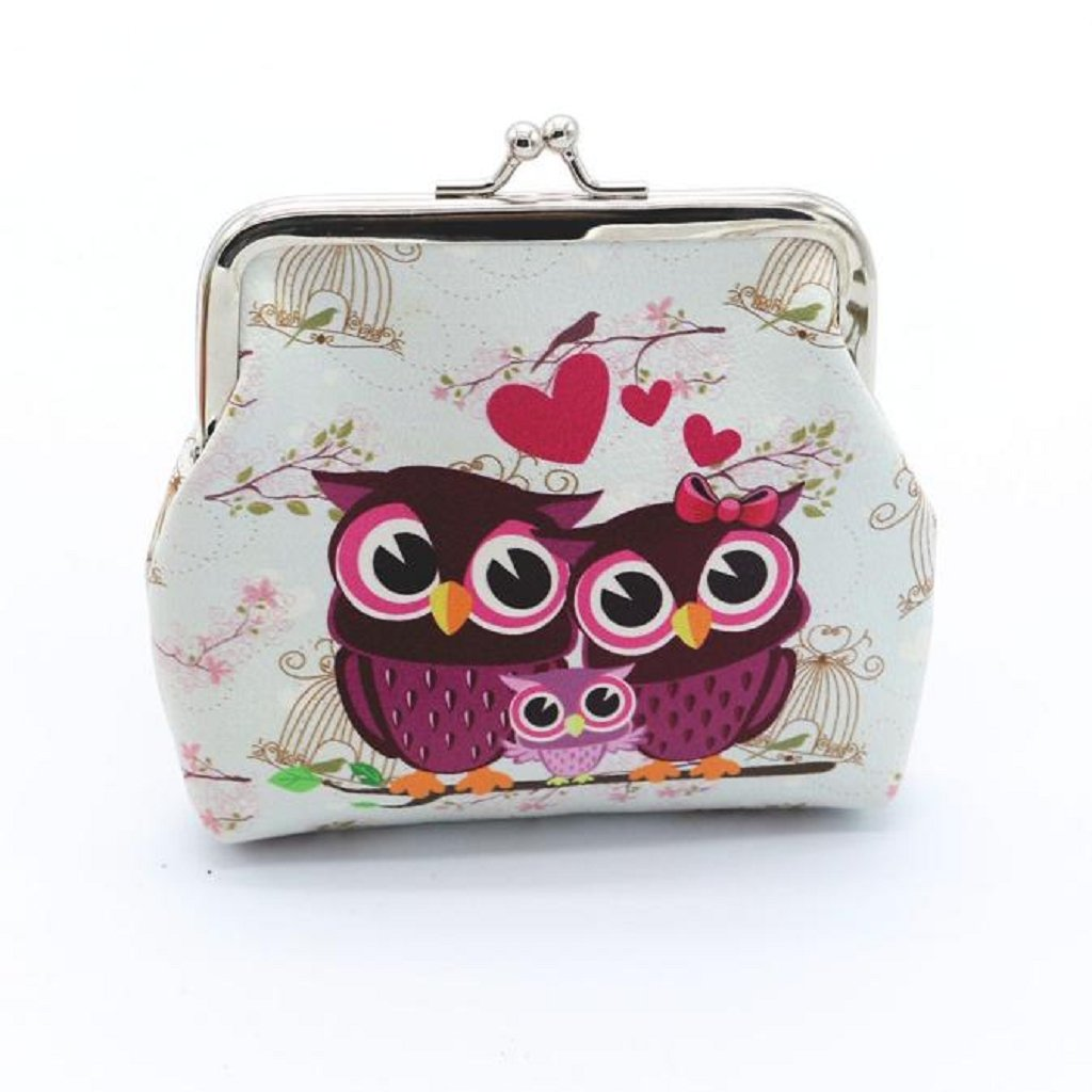 Coin Purse, Mikey Store Women Lady Retro Vintage Owl Small Wallet Hasp Purse Clutch Bag (white)