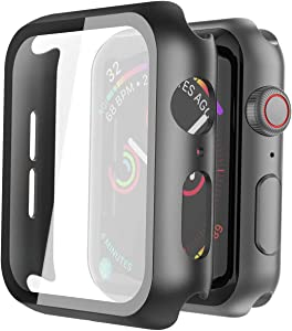 Misxi Hard PC Case with Tempered Glass Screen Protector Compatible with Apple Watch Series 6 SE Series 5 Series 4 40mm - Black
