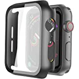 Misxi 2 Pack Hard PC Case with Tempered Glass Screen Protector Compatible with Apple Watch Series 6 SE Series 5 Series 4 44mm