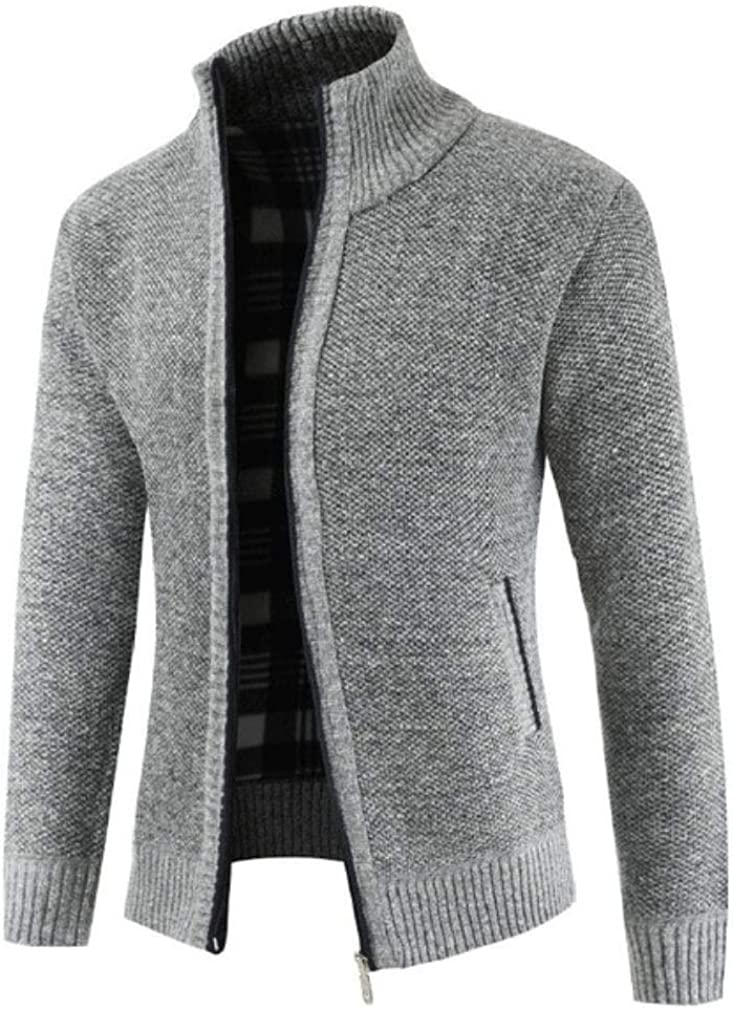 Winter New Mens Simple Cardigan Sweater Slim Mens V-Neck Sweater Jacket