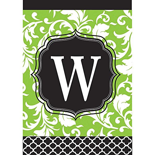 Monogram W Filigree Green and Black Shield 18 x 13 Rectangular Double Applique Small Garden - Charm Filigree Shell