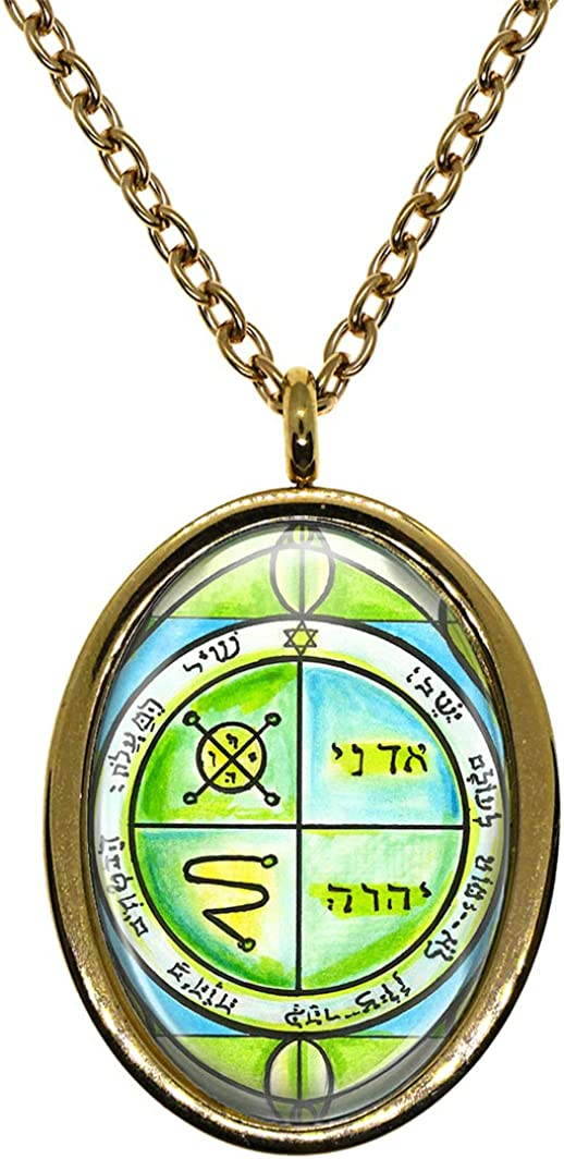 My Altar Solomons 3rd Jupiter Seal Protects Against Enemies /& Evil Gold Stainless Steel Pendant Necklace