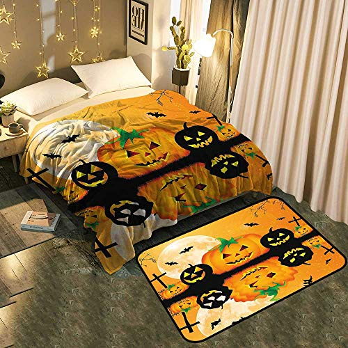 A Set of Blanket Floor Mat Spooky Carved Halloween Pumpkin Full Moon with Bats and Grave by Lake add a lot of Color to Your Life Blanket 30