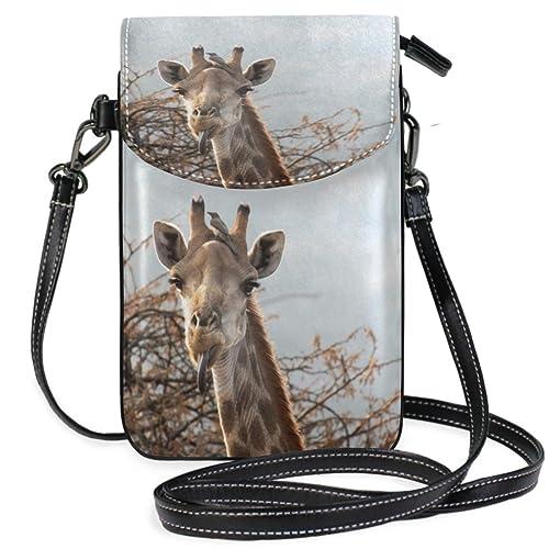 Amazon.com: Bolso bandolera de piel con diseño de jirafas ...
