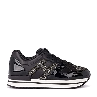 31b9eac618 Hogan Women's H222 Black Patent Leather and Glitter Sneaker 38, 5(EU ...