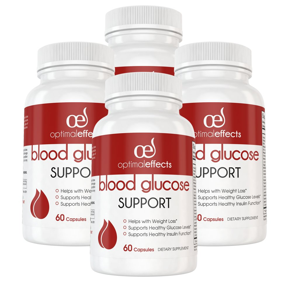 Blood Glucose Support by Optimal Effects - Blood Sugar Management Supplement and Healthy Weight Loss with Vanadium, L-Taurine, Cinnamon, Bitter Melon & More - 60 Veggie Capsules (4)