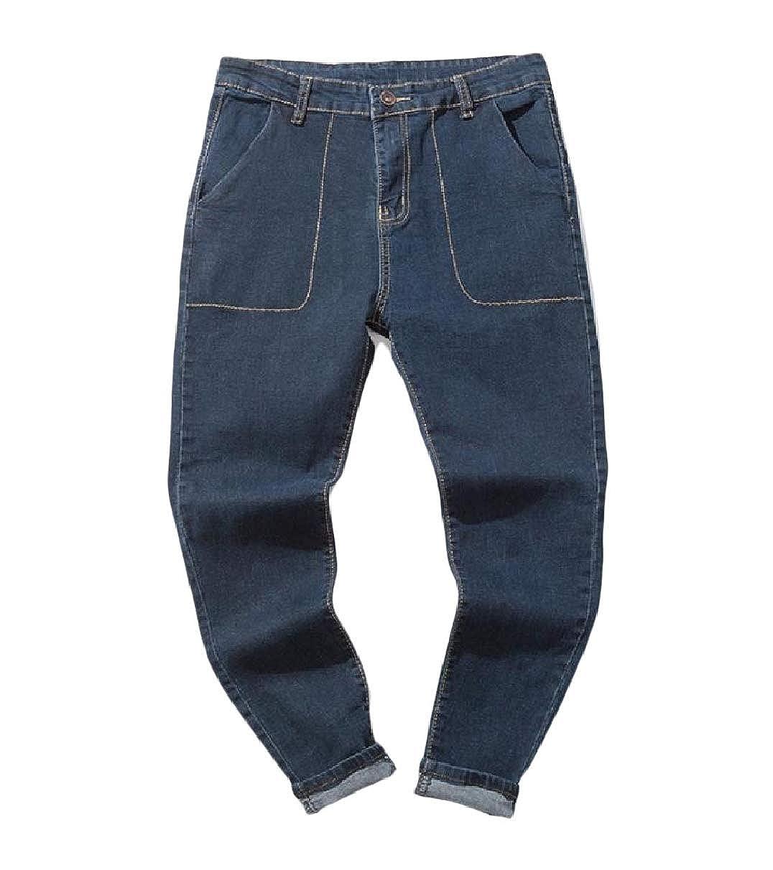 RDHOPE-Men Classic-Fit Harem Pants Denim Casual Plus Size Cotton Jeans