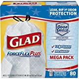 image for Glad ForceFlexPlus Tall Kitchen Drawstring Trash Bags, Unscented, 80 ct