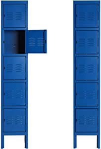 Metal Locker for Office Storage Locker Employees Locker for School Gym Lockers Corridor Locker Five Tier Box Blue 5 Door