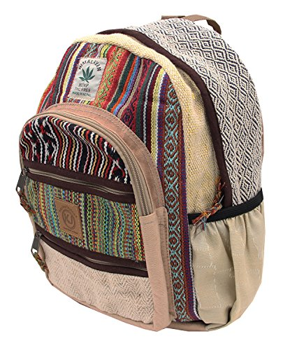 KayJayStyles Handmade Natural Hemp Nepal Backpack Purse for Women & Girls Small Lightweight Daypack (DAYPACK3)