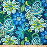 WAVERLY Sun N Shade Flower Child Outdoor Fabric, Sapphire