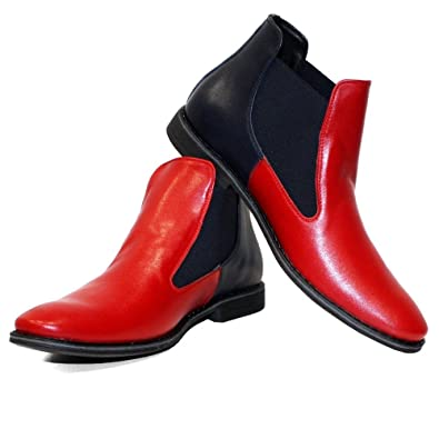 92dfdf2d545 PeppeShoes Modello Lava - 6 UK - Handmade Italian Leather Mens Color Red  Ankle Chelsea Boots