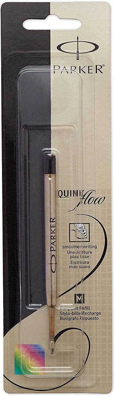 punta mediana 1 cuenta Recambio de tinta para bol/ígrafo Parker Quink Flow negro