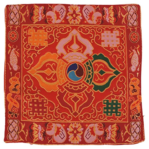 Tibetan Buddhist Puja Brocade Small Silk Bell and Dorje Mat