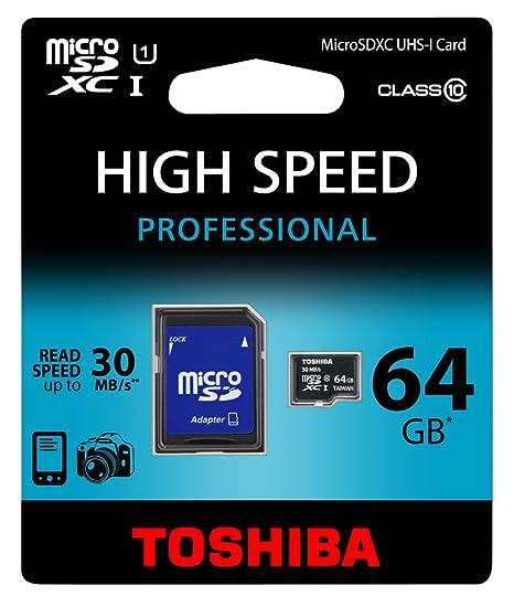 Toshiba SD-C064UHS1(BL5A - Tarjeta de Memoria Micro SD de 64 GB (Adaptador Clase 10 UHS-I)
