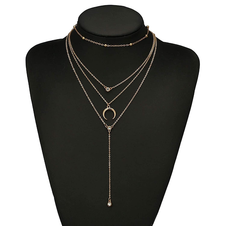 Epinki Gold Plated Women Necklace Wave Teardrop Moon 4 Layers Chain Shape Pendant Bohemia Necklace Gold 47CM