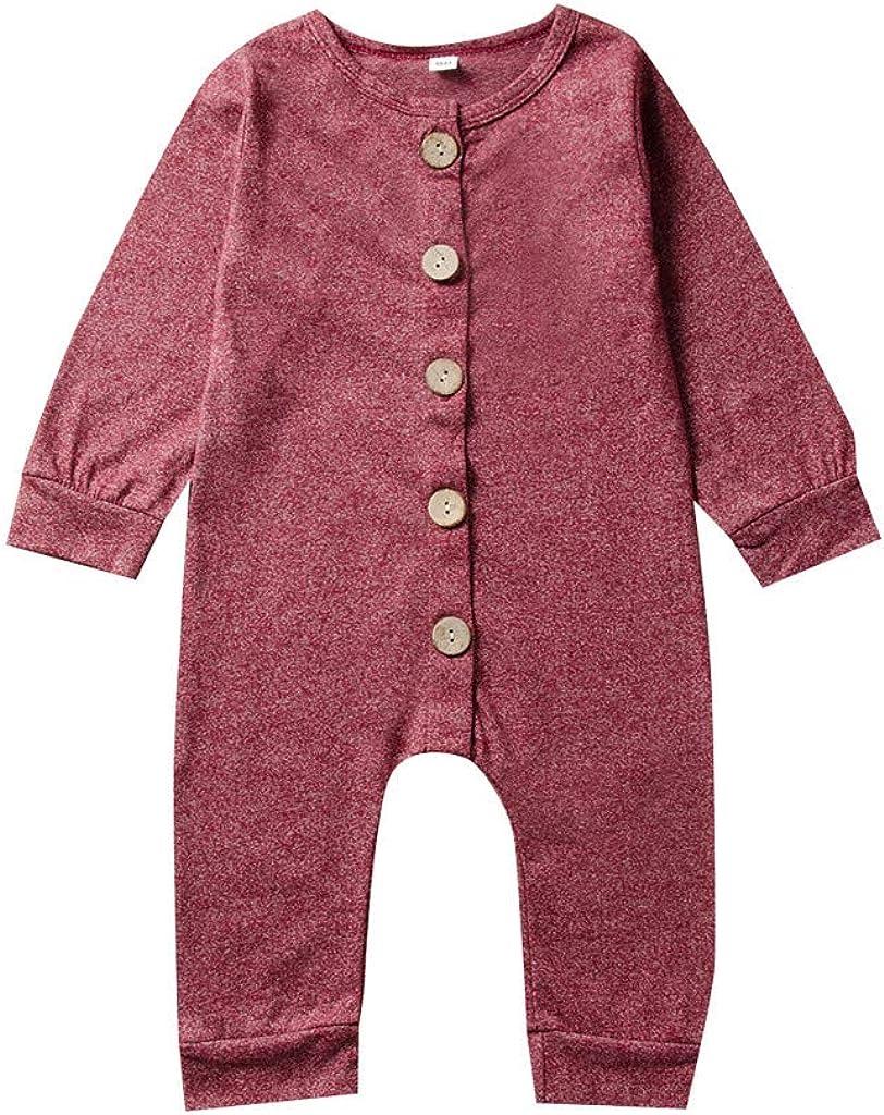 Kobay-Baby Neugeborenes Baby Jungen M/ädchen Langarm Knopf Einfarbig Overall Kind Langarm Einfarbig Knopf Halfter Overall 0-24M