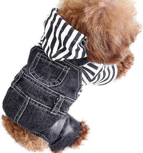 SILD Pet Denim Jumpsuit Dog Jeans Hoodies Cool Blue Coat Medium Small Dogs Classic