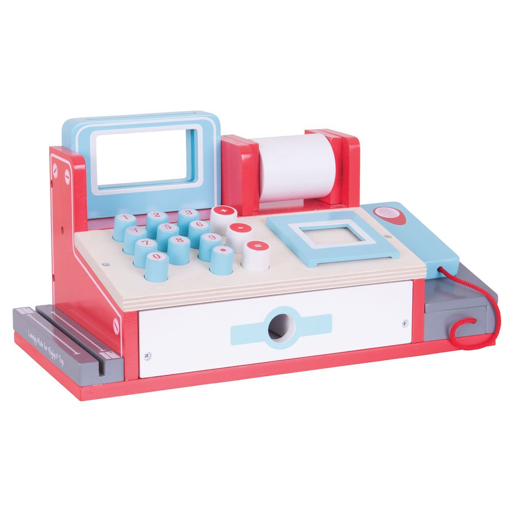 Bigjigs Rail Wooden Toy Cash Register with Scanner - Pretend Role Play Shop by Bigjigs Toys