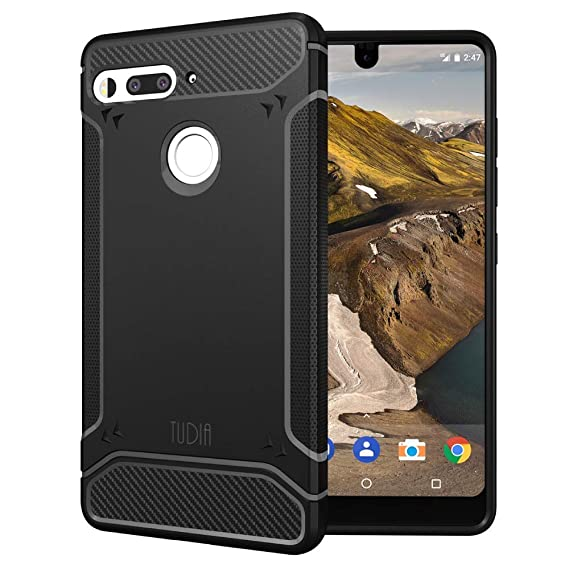 online store 1c389 da224 Essential Phone PH-1 Case, TUDIA Carbon Fiber Design Lightweight [TAMM] TPU  Bumper Shock Absorption Cover for Essential Phone PH-1 (Black)