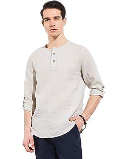 f3d78311164 UAISI Men Long Sleeve Shirt White Linen Shirt Casual Shirt  Amazon ...
