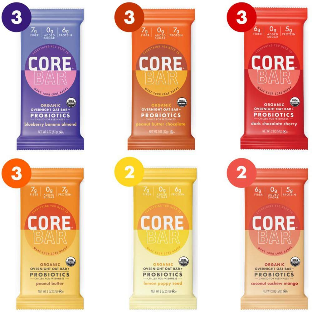 CORE Foods Organic Overnight Oat Bar + Probiotics, Gluten Free, non-GMO, Vegan, Kosher, Prebiotics, Best Sellers Variety Pack, 2 oz, 16 Refrigerated Bars