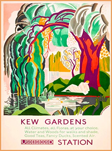 A SLICE IN TIME Kew Gardens Underground Station London England Great Britain United Kingdom English Vintage Travel Advertisement Art Poster Print. Measures 10 x 13.5 inches (Best London Underground Stations)