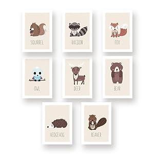 "Woodland Wall Art Nursery Decor - Set of Eight 5x7"" Forest Animals Prints for Kids Room (Hedgehog, Squirrel, Owl, Deer Beaver, Fox, Bear Raccoon)"