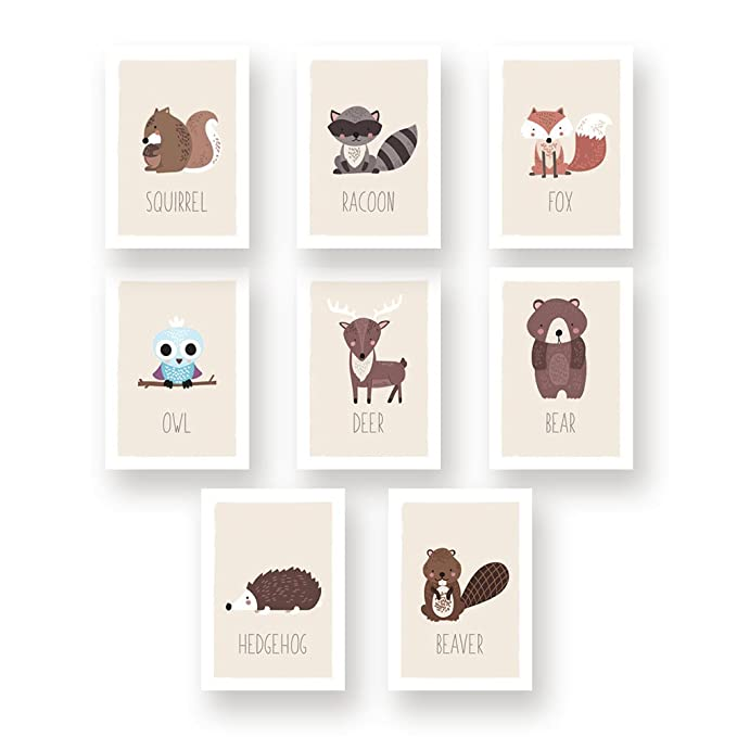 Peeking Animals Italian Collection Kids Room Decor Woodland Nursery Animal Nursery Four 8x10 Wall Art Prints
