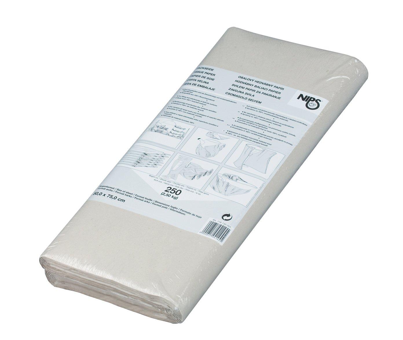 Nips - Carta velina riciclata per imballaggio, 2,5 kg, 50 x 75 cm, confezione da 250 fogli, colore: Grigio 118725201