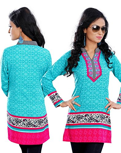 Gorgeous Trendy Cyan Kurti Top With Vibrant Multi Color Designs 4XL(50)
