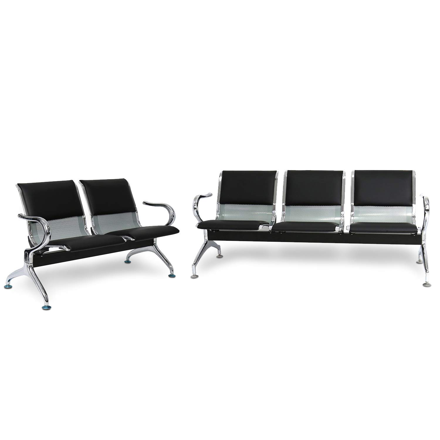 Peach Tree Reception Chairs Waiting Room Chair with Black Leather, Lobby Chairs for Reception Room, Office, Airport Reception Bench (5 Seat, Black)