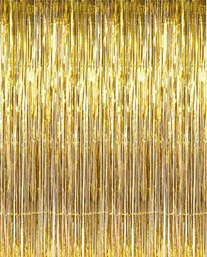 Ornament Wreath Wall Hanging (2 Pack 3 ft x 8 ft Metallic Gold Foil Fringe For Door, Window, Curtain, Wall Decoration - Party, Prom, Wedding, Birthday, Event Decorations)
