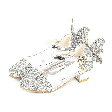 a769133b8fe93d YIBLBOX Prinzessin Schuhe Kristall Schuhe Mädchen Ballerina Schuhe  Pailletten Festlich für Kinder mit Schmetterling