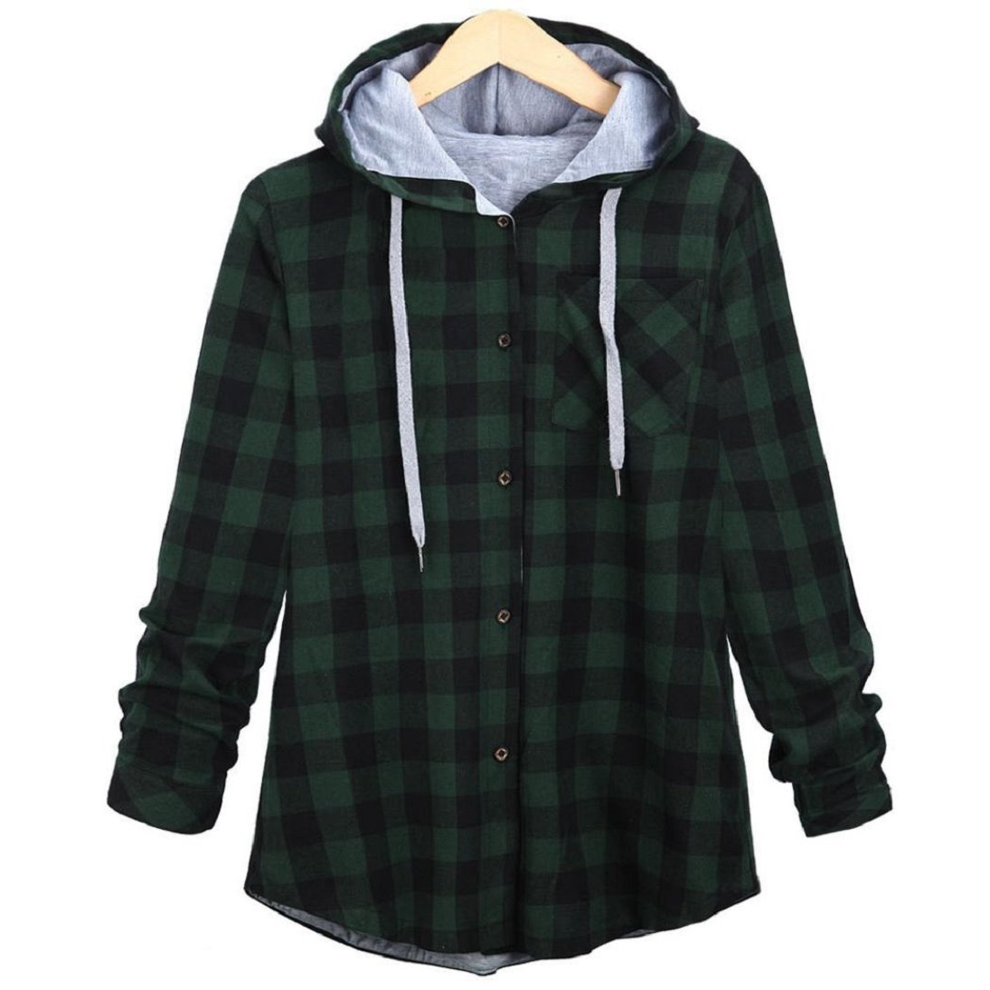 Fheaven Women Leisure Autumn and Winter New Long Hooded Plaid Cardigan Jacket (M, Green)