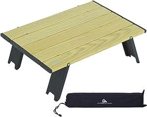 iClimb Ultralight Compact Mini Beach Picnic Folding Table with Carry Bag, Two Size (Wood Grain - S)