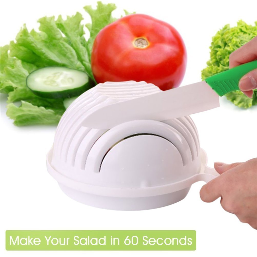 60s Salad Cutter Bowl, Broloyalty 3 in 1 Multifunctional Vegetable Fruit Chopper, Spinner and Strainer-Make Your Yummy, Healthy and Fresh Salad in 60 Seconds