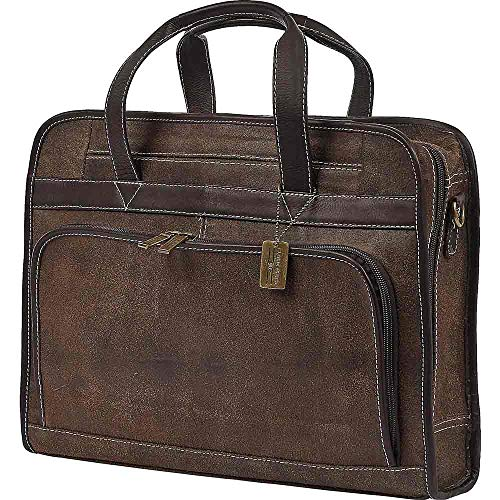 (Claire Chase Professional Computer Briefcase Distressed Brown )