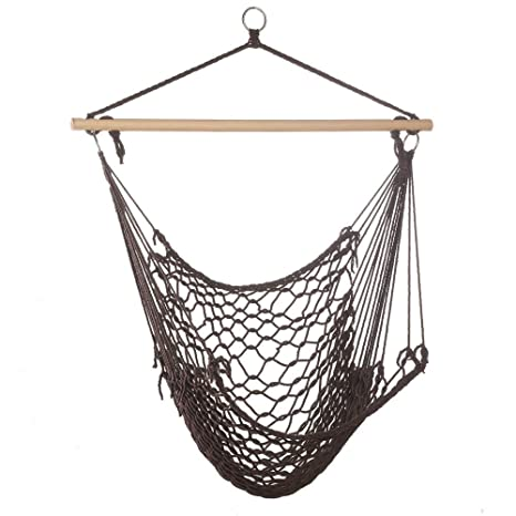 Amazon Com Espresso Cotton Rope Porch Swing Chair Hammock Garden