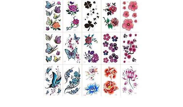 YSYYSH Flor De Color Pegatinas De Tatuaje A Prueba De Agua Mujer ...