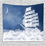 SCOCICI Supersoft Overcharge Throw Blanket Nautical Decor Collection A Yacht in the Ocean Made and Shaped with Fluffy Clouds Atmospheric Abstract Sky Print Blue White 59 x 59 Inches