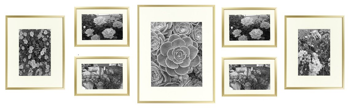 Golden State Art Metal Wall Photo Frame Collection, Set of 7, Aluminum Gold Photo Frame with Ivory Color Mat & Real Glass