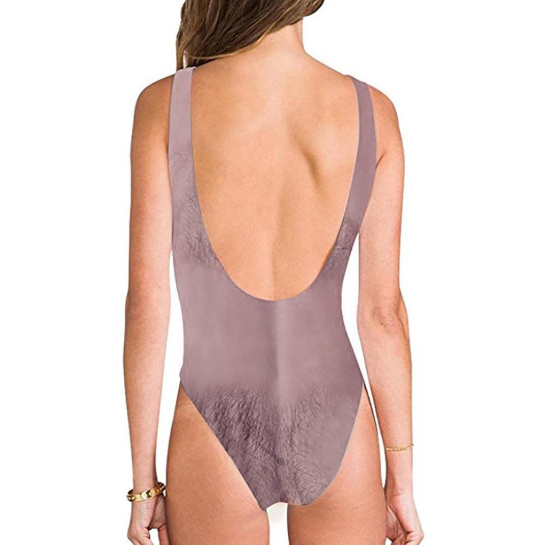 7a3e9cf88d Amazon.com: Euone® Swimwear, Womans Funny Hairy Hair Monokini Bikini Ladies  Sexy High Cut Bathing Suit: Clothing
