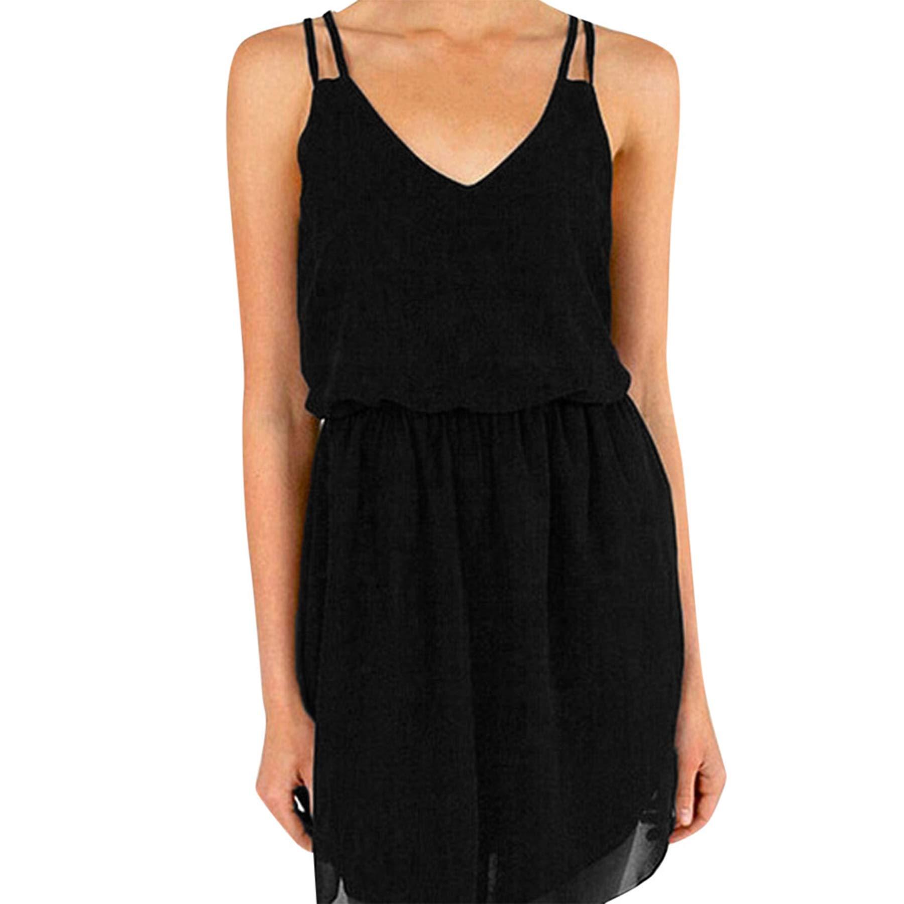 Women's Summer Sexy Chiffon Sleeveless Sling Dresses Casual V Neck Cocktail Party Mini T Shirt Dresses