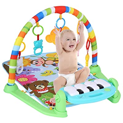 Baby Fitness Rack Crawling Mat Child Game Pad Music Pedal Piano Music Activity Center W/Music, Lights & Sounds Explore Activity Gym, Kick and Play Newborn Toy : Baby