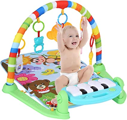 4 in 1 Baby Gym Floor Play Mat Blanket Pedal Piano Musical Kick Play Toy Fine