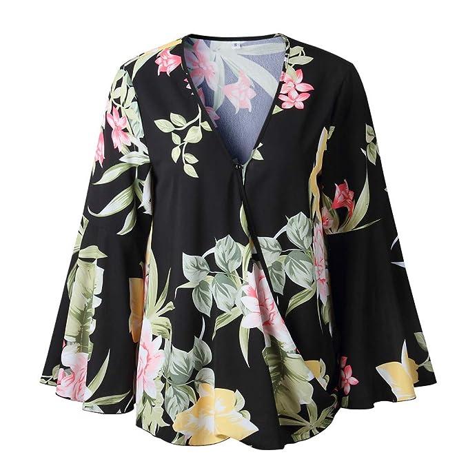 Amazon.com: Clearance! Teresamoon Women Brief V-Neck Printing Shirts Long Sleeve Ruffle Irregular Casual Blouse: Clothing